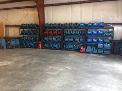 ECOS basement water drying air movers and dehumidifiers