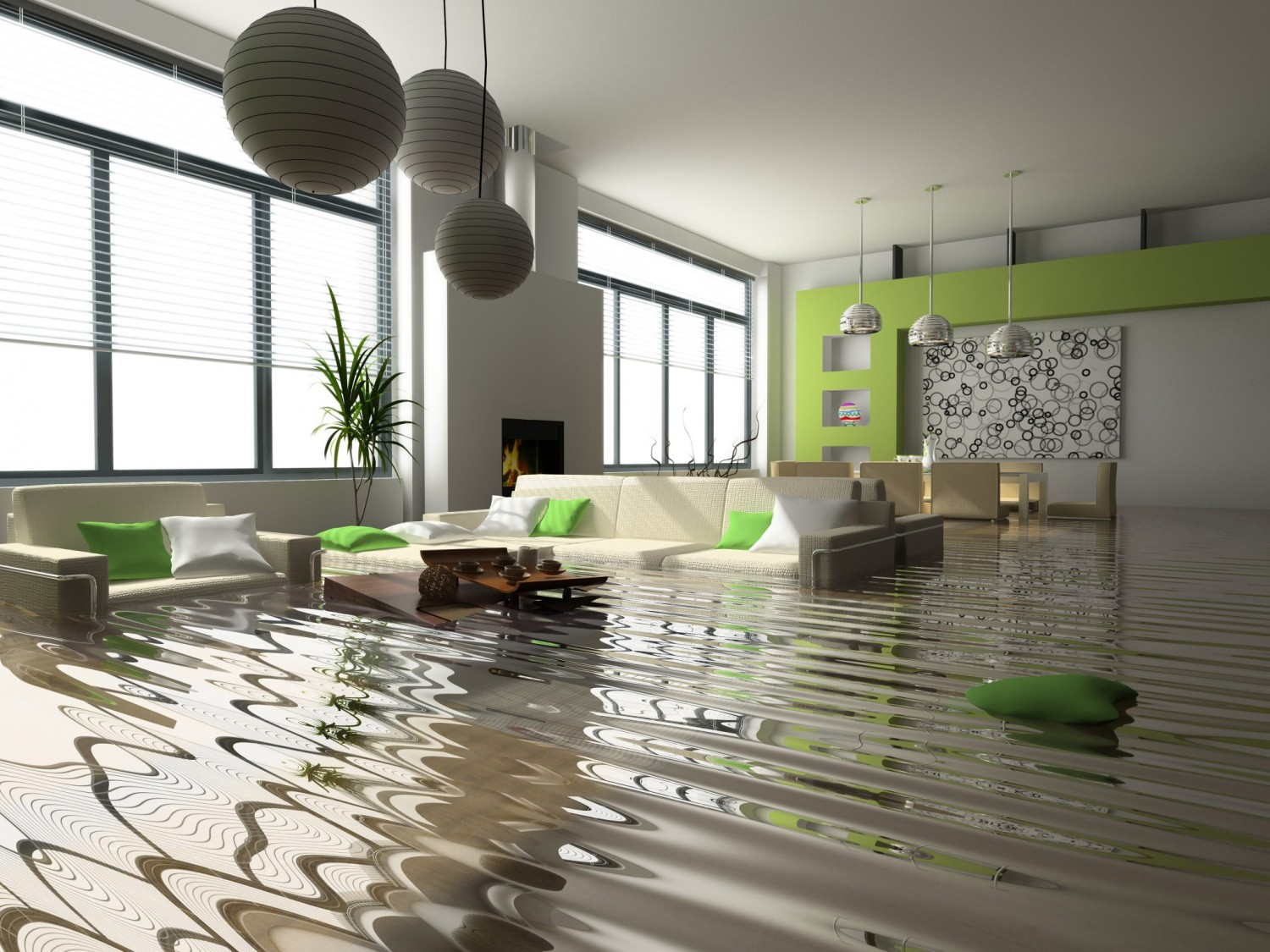 flood water in modern house